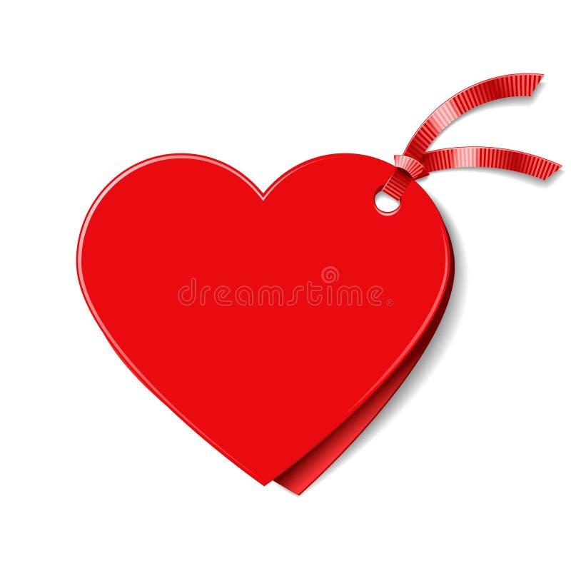 Étiquette en forme de coeur de cadeau illustration de vecteur