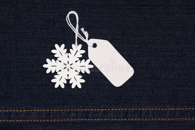 étiquette et flocon de neige de label photographie stock libre de droits