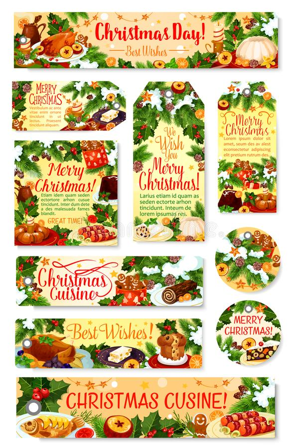 Étiquette et label de dîner de Noël avec le plat de fête illustration de vecteur