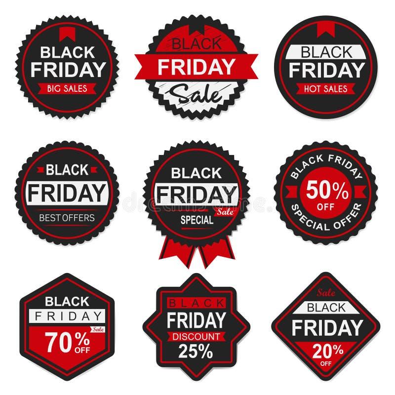 Étiquette et label noirs de vente de vendredi photos stock