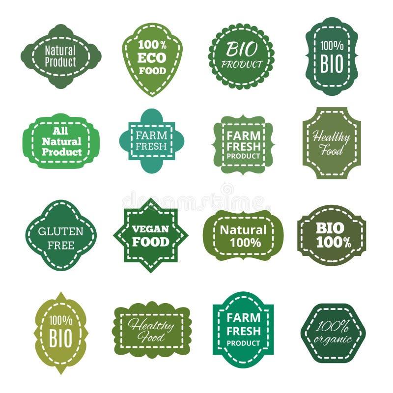 Étiquette, labels, emblèmes et insignes organiques naturels de vert de vecteur de produit de vintage bio illustration stock