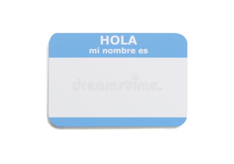Étiquette nommée d'Espagnol bonjour photo stock