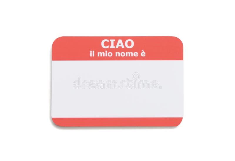 Étiquette nommée d'Italien bonjour photos stock