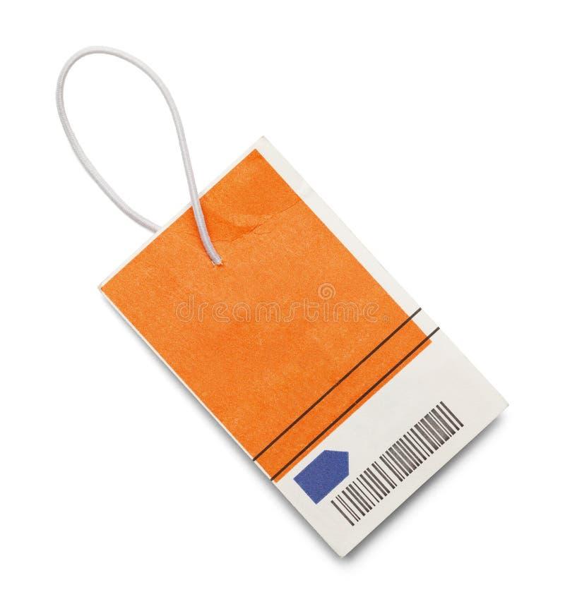 Étiquette orange de code barres photographie stock