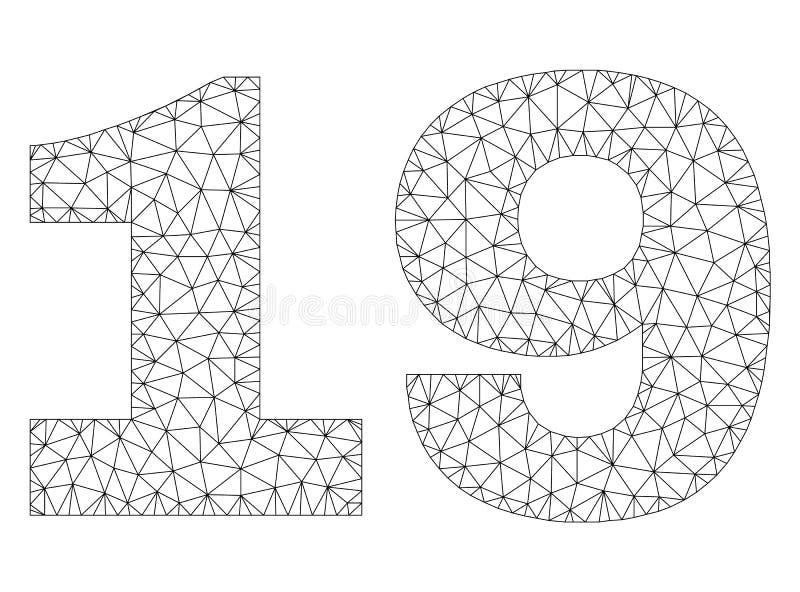 Étiquette polygonale des textes de la maille 19 illustration stock
