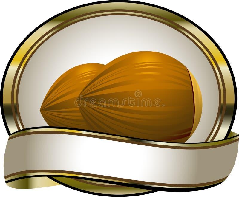 Étiquette pour des produits de noisette illustration libre de droits