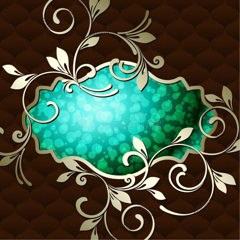 Étiquette rococo de cru élégant dans vert-foncé illustration libre de droits