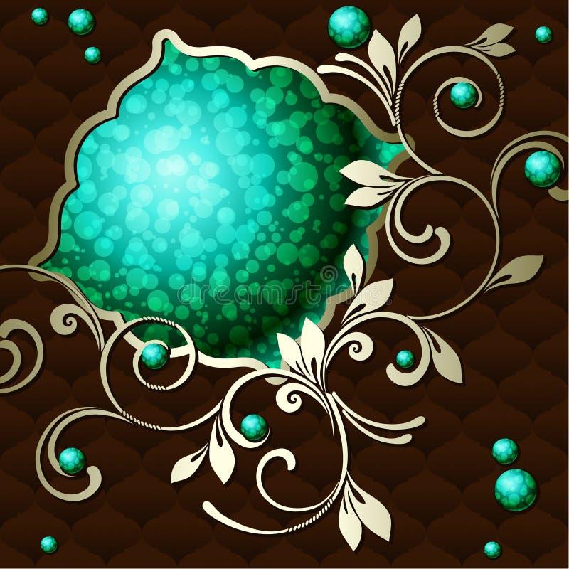 Étiquette rococo de cru élégant dans vert-foncé illustration stock