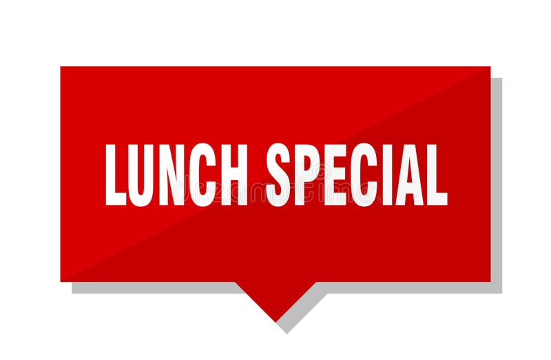 Étiquette rouge spéciale de déjeuner illustration libre de droits