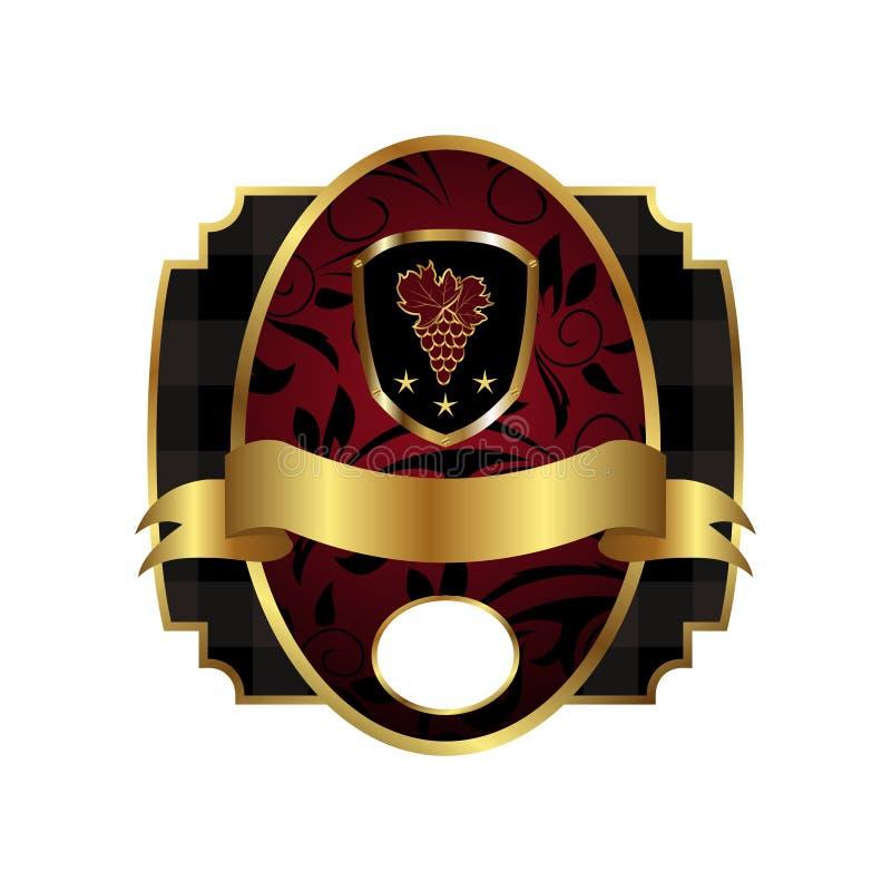 Étiquette royale avec la trame d'or, écran protecteur, tête illustration stock