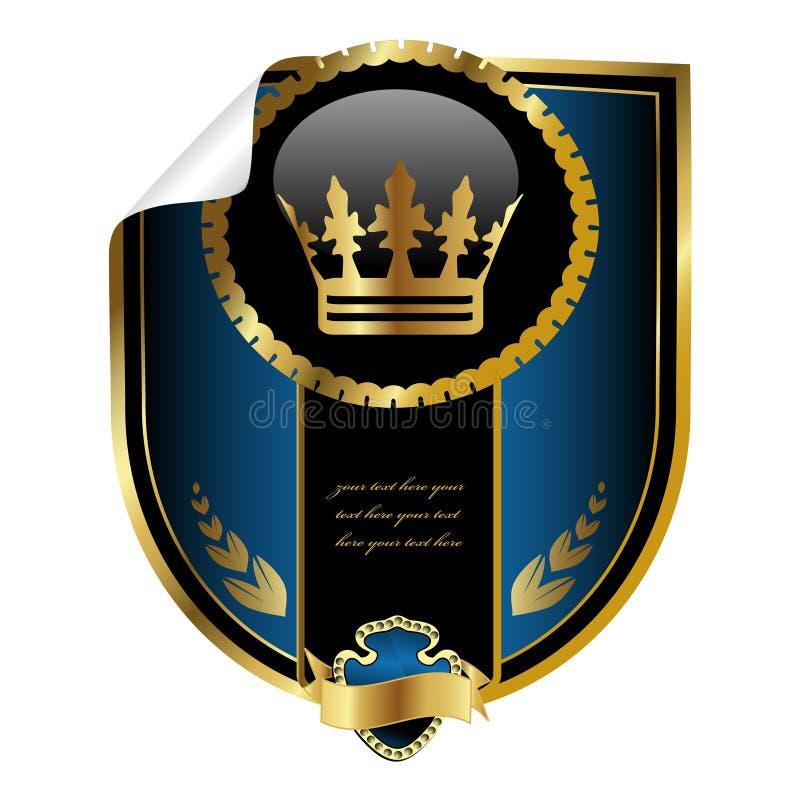 Étiquette royale de vecteur avec le coin enroulé illustration stock