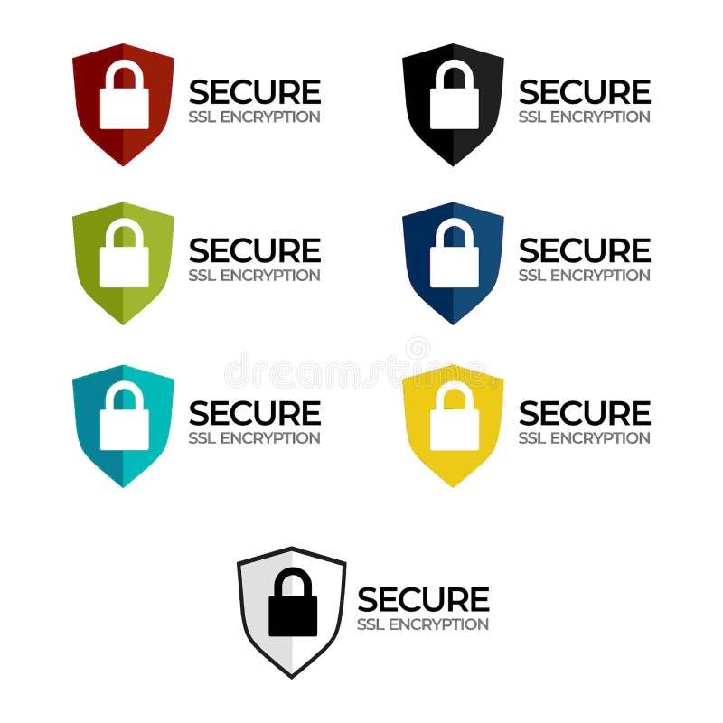 Étiquette sûre /button /bar de chiffrage de SSL illustration libre de droits