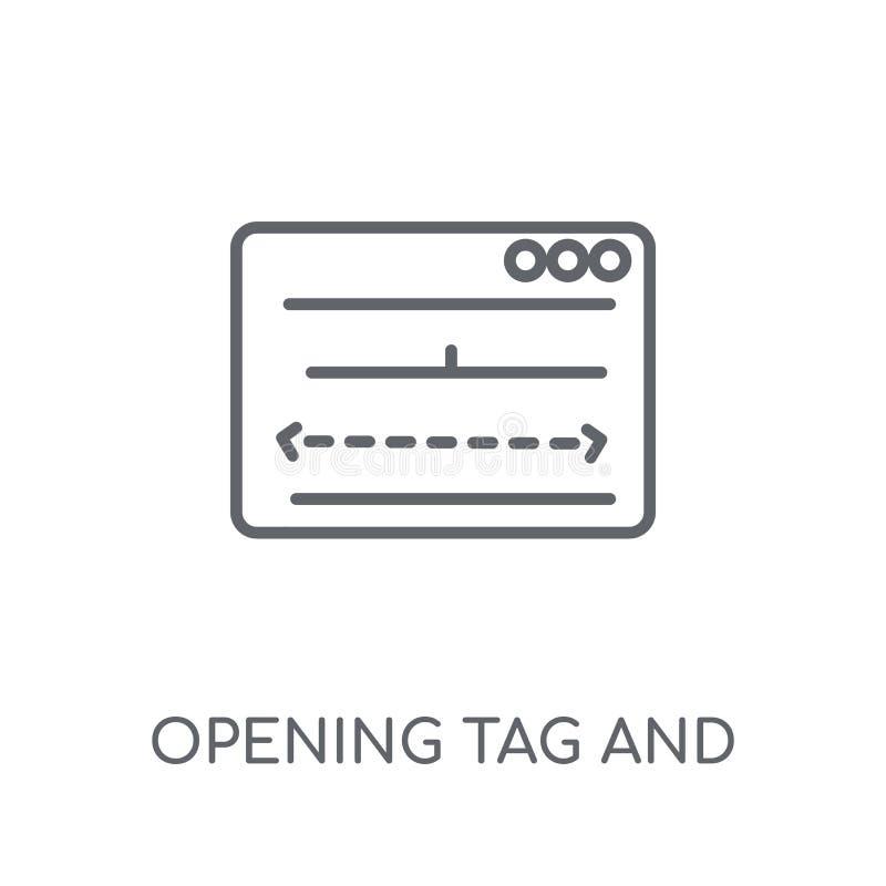 Étiquette s'ouvrante et icône linéaire se fermante d'étiquettes Ouverture moderne d'ensemble illustration libre de droits