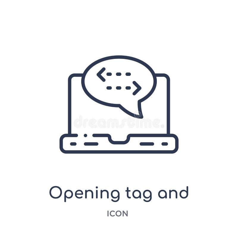 étiquette s'ouvrante et icône se fermante d'étiquettes de collection d'ensemble de technologie La ligne mince étiquette d'ouvertu illustration de vecteur