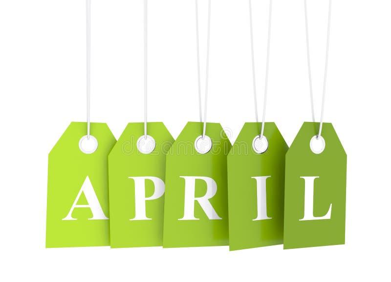 Étiquette verte d'avril illustration de vecteur