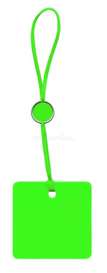 Étiquette verte de glam avec le lacet d'isolement sur le blanc photographie stock