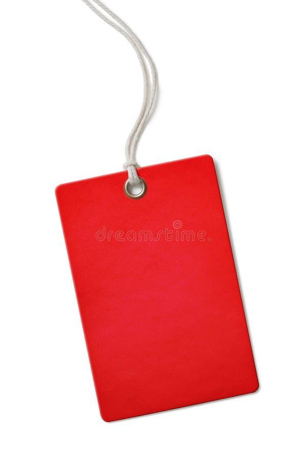 Étiquette vide rouge des prix ou de vente de carton d'isolement photo libre de droits