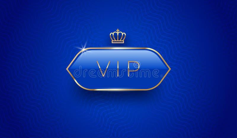 Étiquette vip en verre avec couronne dorée et cadre sur fond de motif bleu Conception Premium Modèle de conception de luxe illustration stock