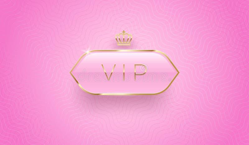 Étiquette vip en verre avec couronne dorée et cadre sur fond de motif rose Conception Premium Modèle de conception de luxe illustration de vecteur