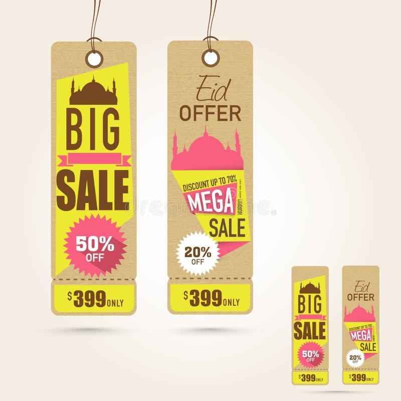 Étiquettes accrochantes de vente occasionnellement de célébration de festival d'Eid Mubarak illustration stock