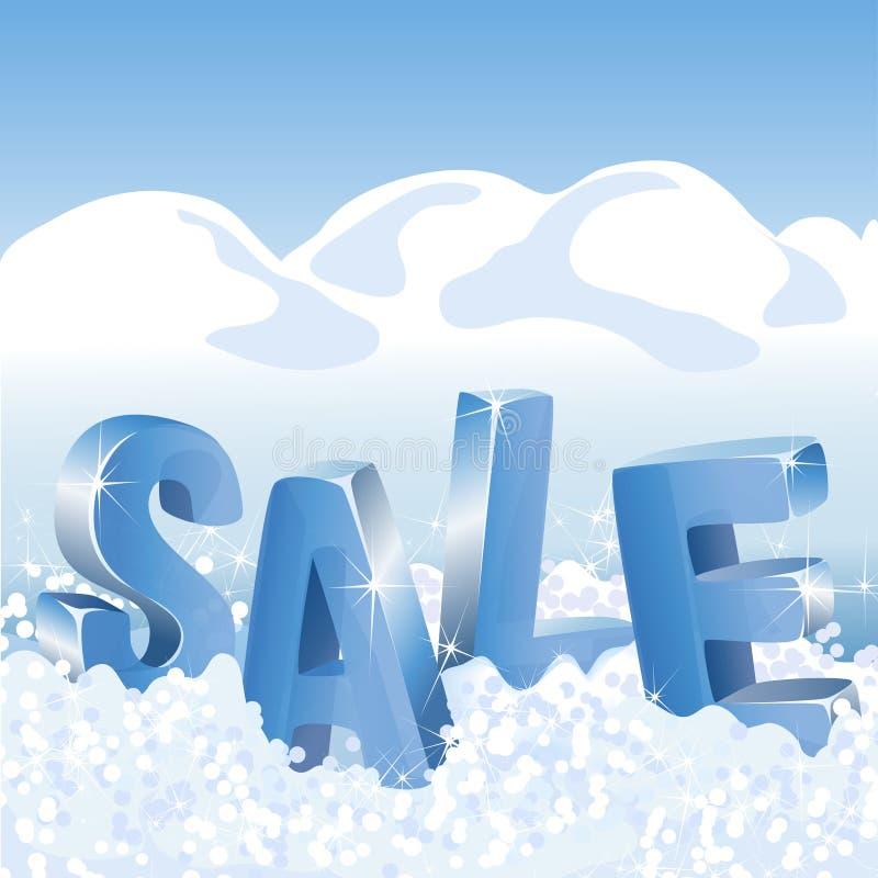 Étiquettes bleues de vente d'hiver dans la neige blanche illustration stock
