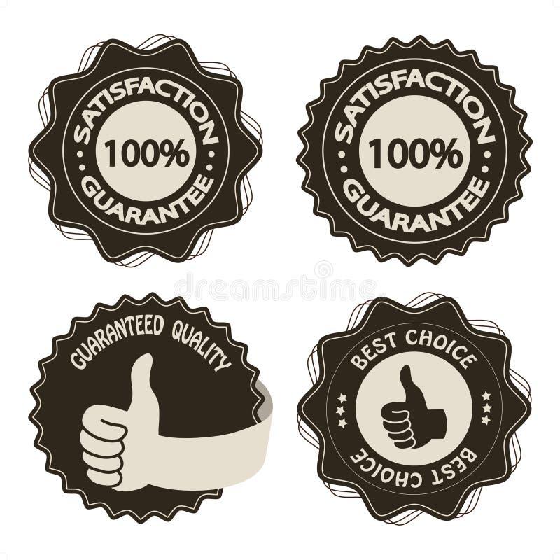 étiquettes brunes de garantie de satisfaction de vecteur illustration libre de droits