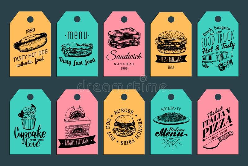 Étiquettes d'aliments de préparation rapide de vecteur Hamburgers, hot-dogs, sandwich etc. illustrations Collection rapide tirée  illustration de vecteur