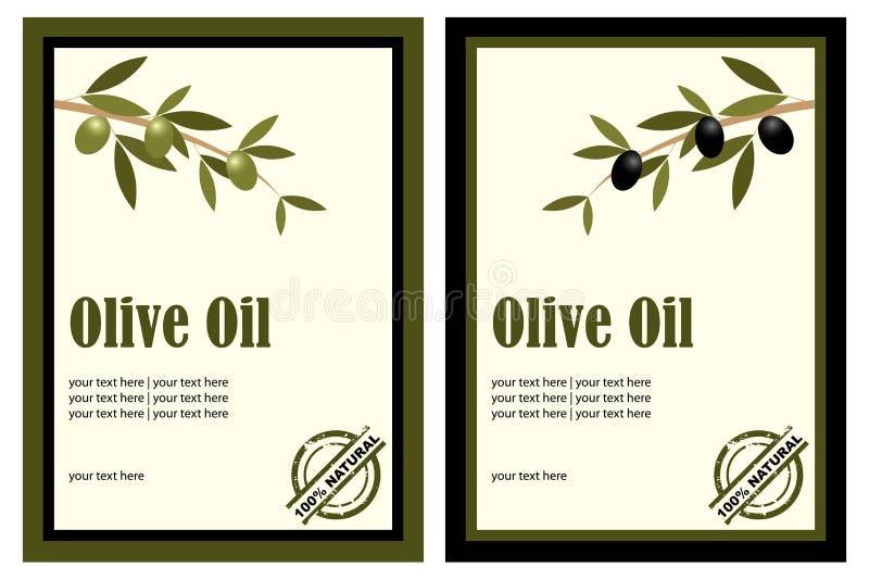 Étiquettes d'huile d'olive illustration libre de droits