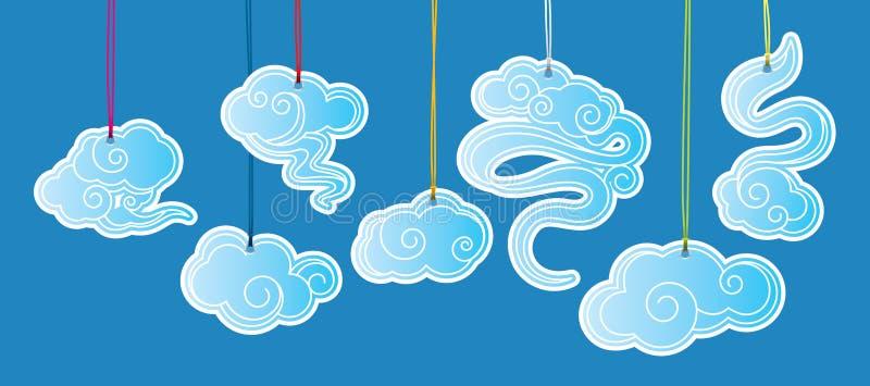 Étiquettes d'illustrations de nuage de style chinois illustration libre de droits