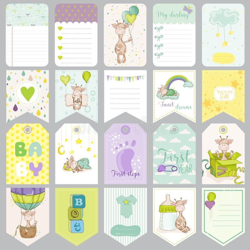 Étiquettes de bébé garçon Bannières de bébé Labels d'album Cartes mignonnes illustration libre de droits