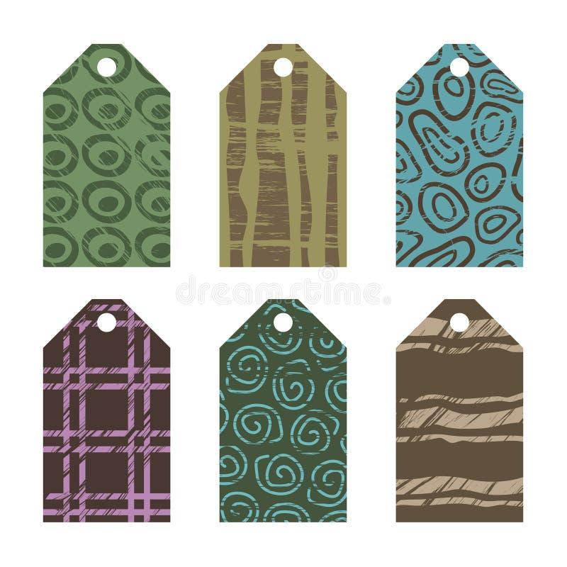 Étiquettes de cadeau avec des conceptions grunges illustration stock