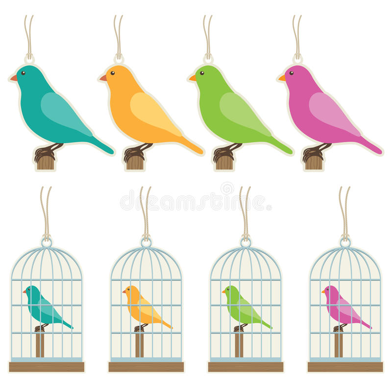 Étiquettes de cadeau d'oiseau photo stock