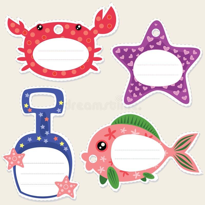 Étiquettes de cadeau de bord de la mer illustration libre de droits