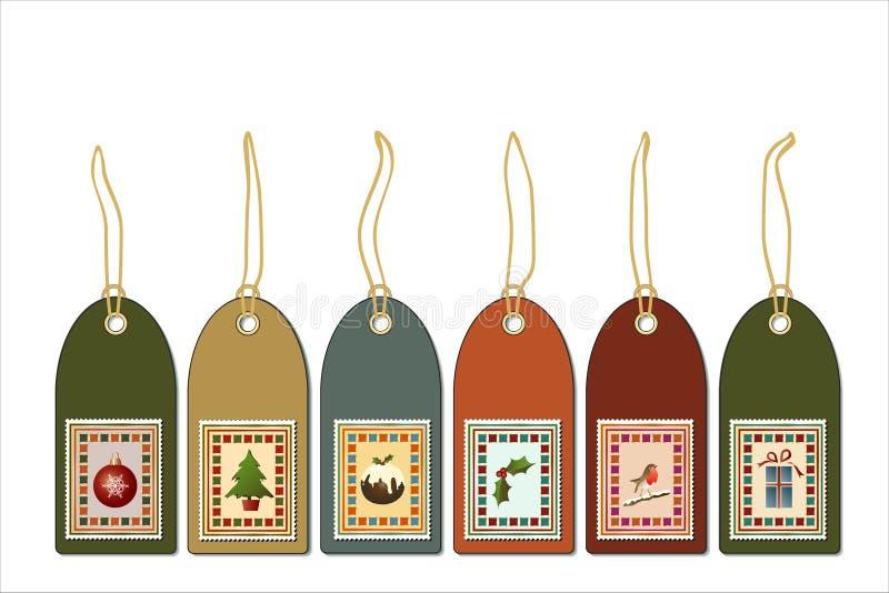 Étiquettes de cadeau de cru illustration de vecteur