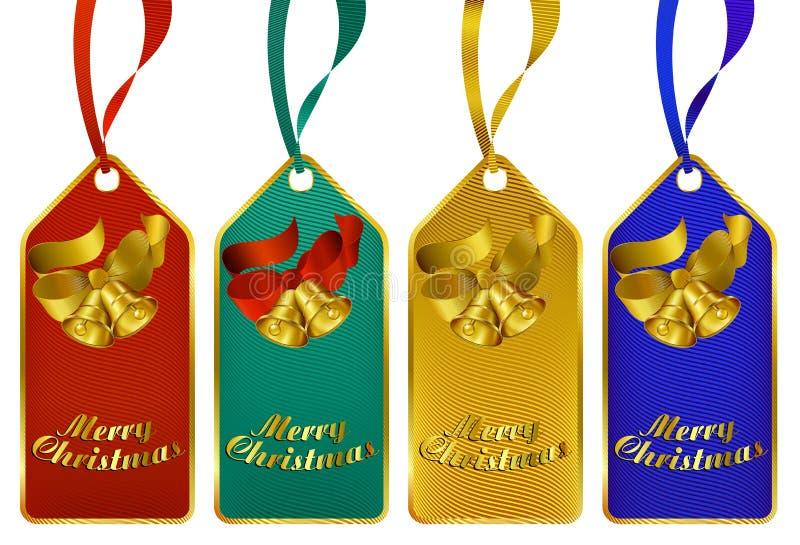 Étiquettes de cadeau de Joyeux Noël illustration stock