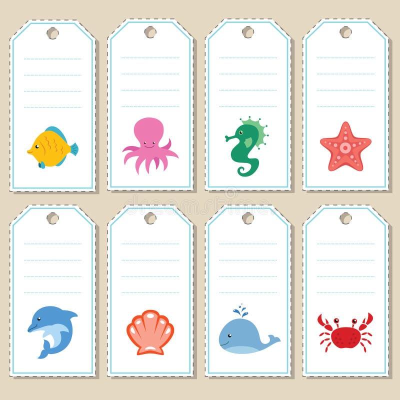 Étiquettes de cadeau de mer illustration libre de droits