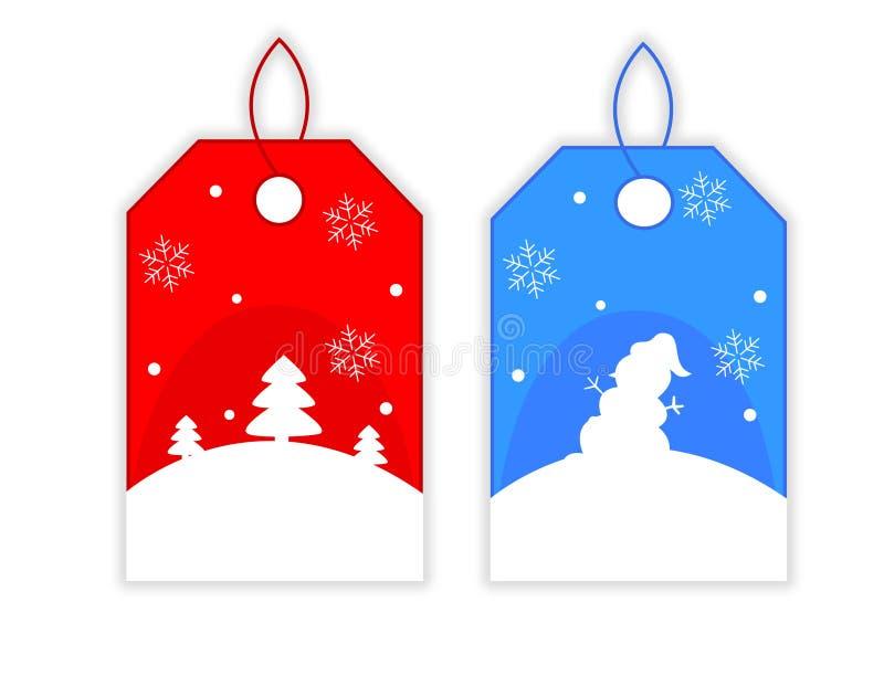 Étiquettes de cadeau de Noël illustration de vecteur