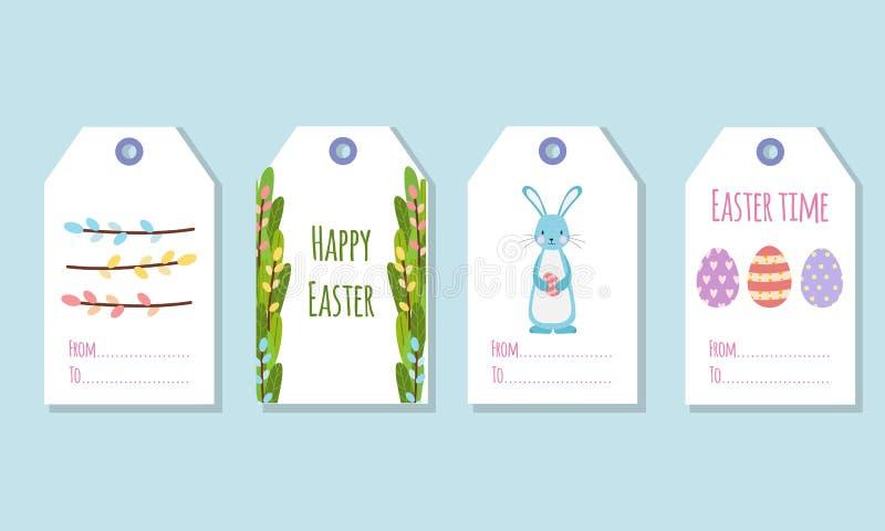 Étiquettes de cadeau pour les vacances de Pâques Décoration des cadeaux avec des éléments de ressort illustration stock