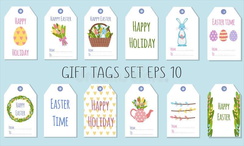 Étiquettes de cadeau pour les vacances de Pâques Décoration des cadeaux avec des éléments de ressort illustration libre de droits