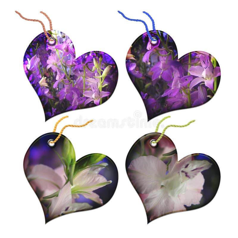 Étiquettes de cadeau sous forme de coeur. illustration stock