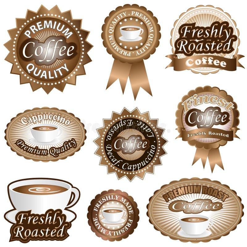 Étiquettes de café illustration libre de droits