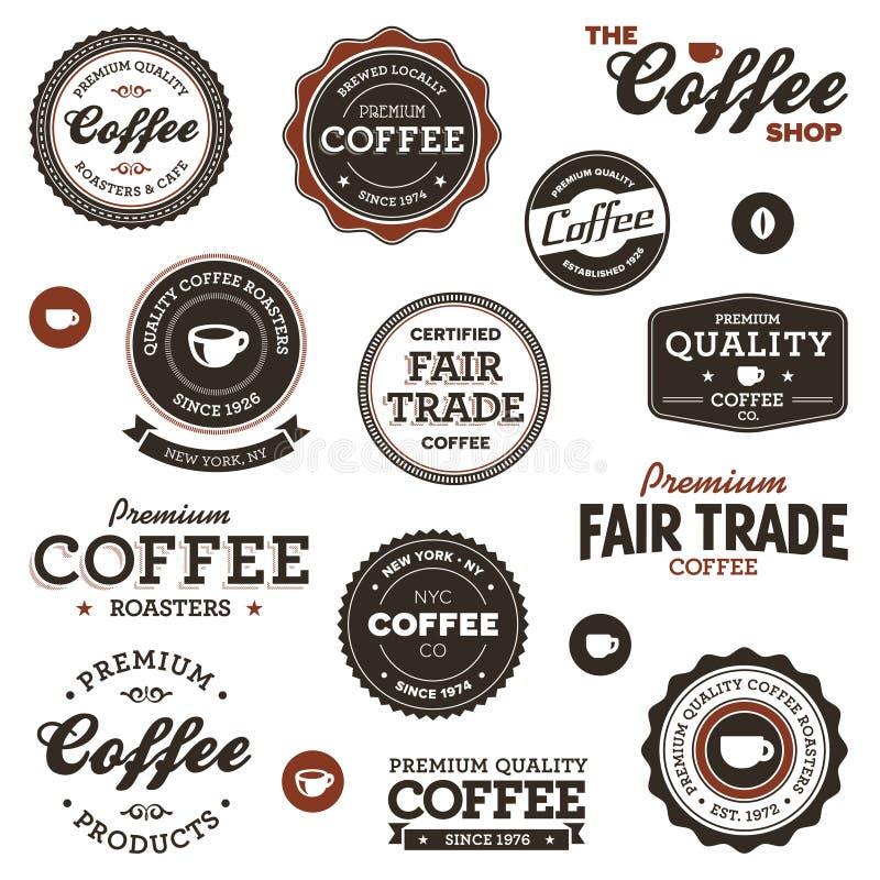 Étiquettes de café de cru illustration stock
