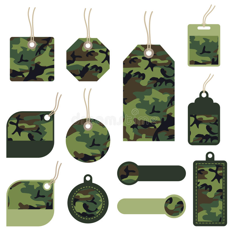 Étiquettes de camouflage illustration stock