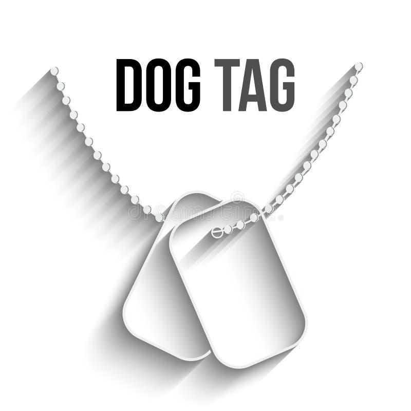 Étiquettes de chien avec l'icône à chaînes de vecteur illustration stock