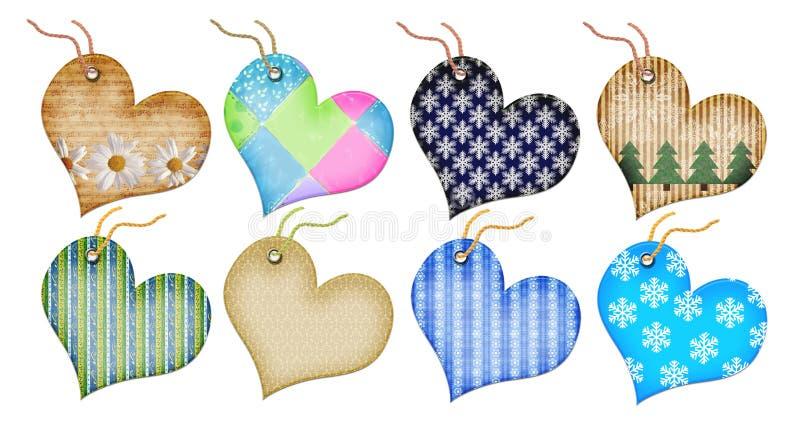 étiquettes de coeur de cadeau de forme de Noël illustration stock