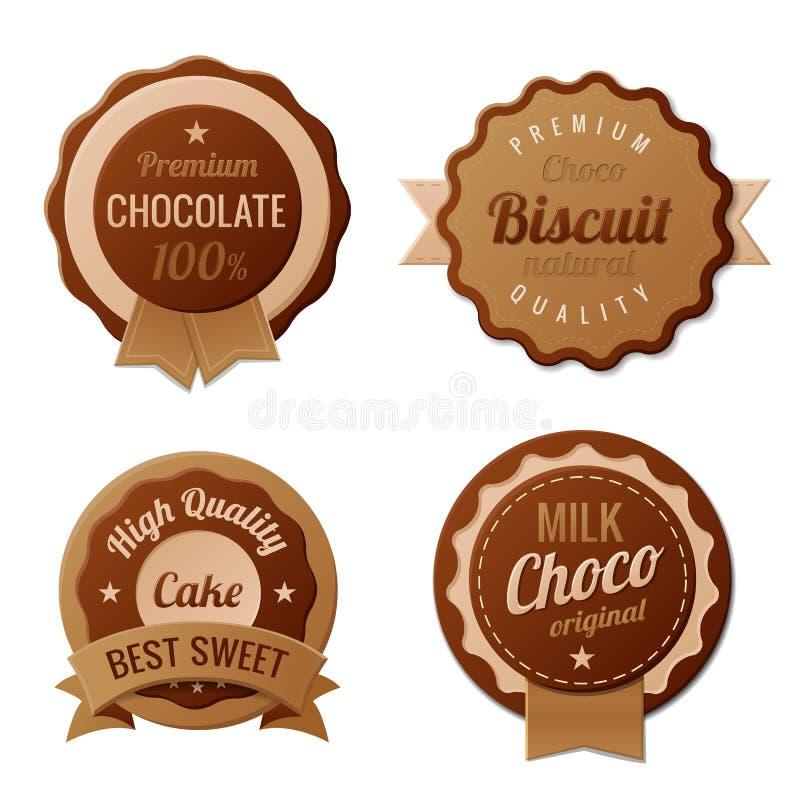 Étiquettes de cru de chocolat illustration libre de droits