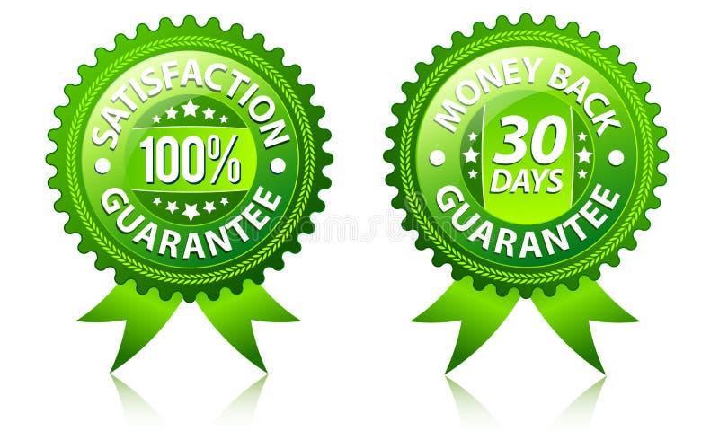 Étiquettes de garantie de dos de satisfaction et d'argent illustration stock