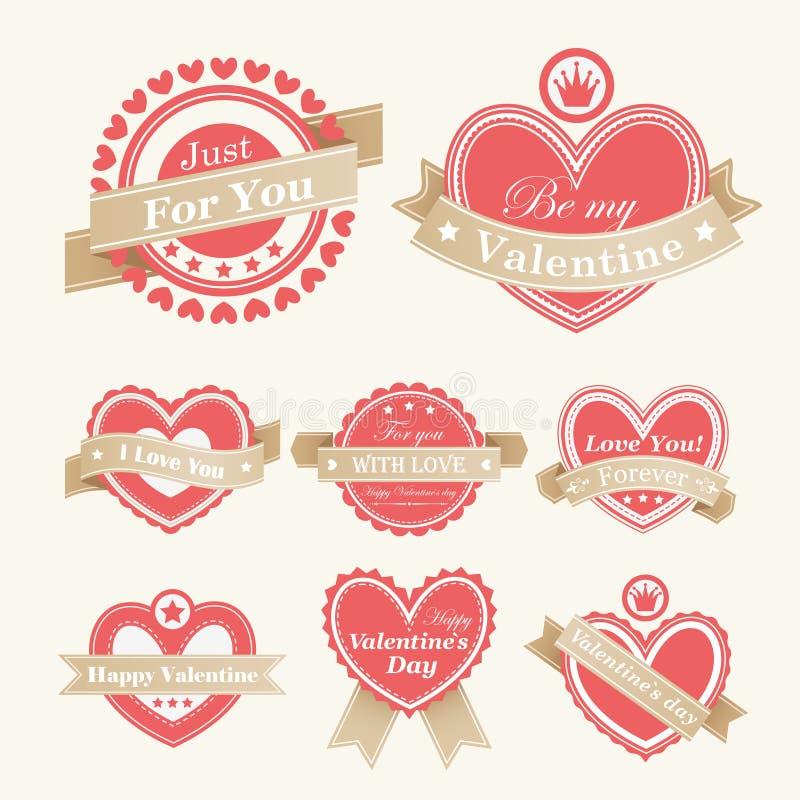 Étiquettes de jour du `s de Valentine illustration de vecteur