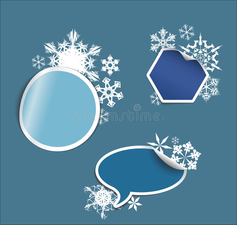 étiquettes de l'hiver, collants, flèches indicatrices, étiquettes illustration libre de droits