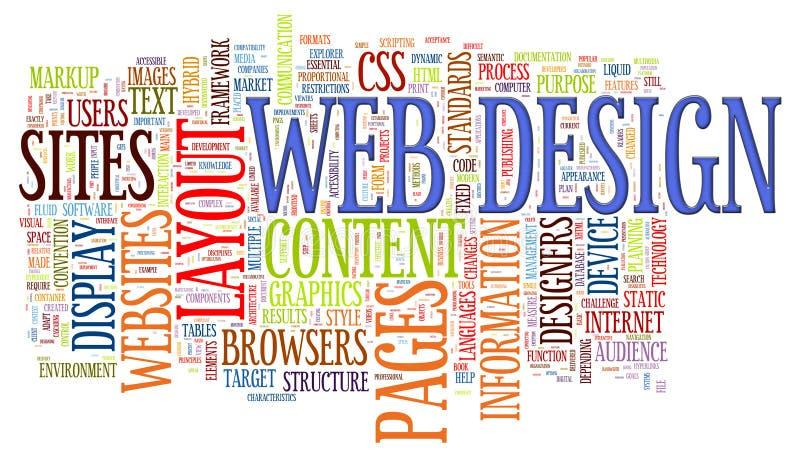 Étiquettes de mot de conception de Web illustration stock